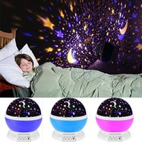 Wholesale USB Laser Baby Sleeping Rotating Sky Moon Star LED Projector Night Light Projection Lamp Moon Stars Rotating Round Night Light Lamp