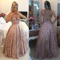 Wholesale Sparkly Long Beaded Sequin Evening Dresses Sheer Illusion Lace Sexy Open Back Formal Evening Gowns Plus Size Cheap Prom Party Dress