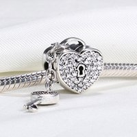 Wholesale Real Sterling Silver Not Plated Love Heart Lock CZ European Charms Beads Fit Pandora Snake Chain Bracelet DIY Jewelry