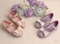 Printemps de printemps de princesse de filles printemps nouveaux Enfants Boucles d'enfants de chaussure en cuir rond d'orteil Boucle de boucle de chaussure filles de chaussures danse violet rose EMS ship6156
