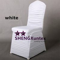 achat en gros de white ruffled lycra chair covers-Housse de chaise blanc Spandex Ruffled \ Cheap Price Wedding Stretch Lycra Chair Cover