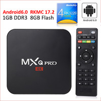 achat en gros de joueur de film complet-MXQ MXQ Pro 4K Smart TV Box entièrement équipé 17.2 Rockchip Box TV Android 6.0 Streaming Media Player support WiFi H.265 3D Free Movies HDMI