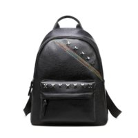 Wholesale 2017 Brand New Women s Fashion Bags Rivet PU Polyester One Color Black Backpack Style Schoolgirl MOQ Leisure Plain Zipper Pocket Bag