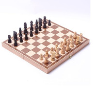 Wholesale 2016 New Funny Folding Folable Wooden International Chess Set Board Game Funny Game Sports Entertainment Adult and children s Christmas pres