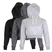 Wholesale Cropped Hoodies Wholesale - 2017 Autumn Womens Solid Crop Hoodie Long Sleeve Jumper Hooded Pullover Coat Casual Sweatshirt Top Sudaderas Mujer