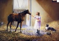 barn art - Framed MY COMPANION Girl Farm Barn Horse Pony Collie Dog Pure Hand Painted GRAHAM Art Oil Painting On Canvas Multi sizes HS040