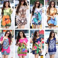 Wholesale-Summer 2015 t-shirt femmes tops imprimé floral t-shirt mignon manches courtes t-shirt plus taille grande tunique t-shirts femme