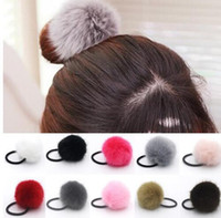 artificial diamond rings - Korean Artificial Rabbit Fur Ball Elastic Hair Rope Rings Ties Bands Ponytail Holders Girls Hairband Headband Hair Accessories