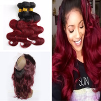 band extensions - Ombre Body Wave B J Hair Bundles With Lace Band Frontal Pre Plucked Frontal With Ombre Hair Extension