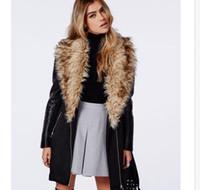 Precio de Leather jackets-2016 mujeres largas Inglaterra cuello de piel Fold cuero manga lana gruesa chaqueta de abrigo trinchera para mujer