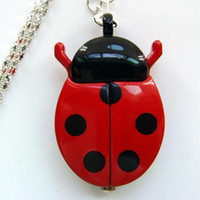 beetle battery - Price Red Ladybug Beetle Necklace Pendant Pocket Quartz Watch Chain Battery Included Gift GL02RT