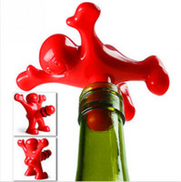 bar fittings - Wine bottle stoppers plastic red happy man creative kitchen bar tools fit general wine bottles wine opener beer soda novelty bottle opener