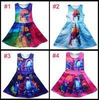 b vest - 4 Style Girl Trolls Poppy Branch Princess Dress Children high quality cartoon bowknot sleeveless vest dresses clothes B