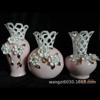 antique ceramic vases - White Carving Pattern Retro Hollow Vase Specials Ceramic Crafts Home Supplies Decorative Artwork Indoor Supplies Series
