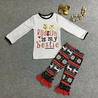 aztec red - Christmas fall winter baby girls kids wear Rudolph aztec outfits long sleeve ruffles print red pants with matching bow necklace