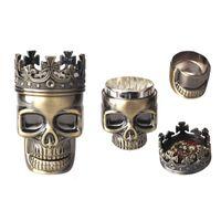 Wholesale Layer male skull bronze metal grinder spices vanilla tobacco smoke detectors mill crusher ashtray