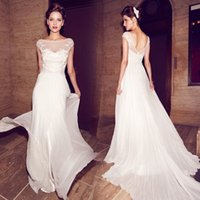 Wholesale 2017 Summer Beach Outdoor A line Lace Wedding Dresses Applique Boho Concise Cape Sleeve Backless Summer Pregnant Bridal Gowns High Quality