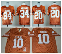 Wholesale 2016 Texas Longhorns Jersey NCAA College Retro Ricky Williams Football Jerseys Earl Campbell Vince YOUNG Throwback Orange Quality
