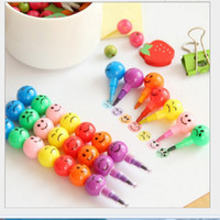 Wholesale 7 Colors Pen Cute Cartoon Kawaii Smile Graffiti Pen Candy Colorful Smiling Face Crayon Painting Pens for Kids Drawing Watercolor Pen