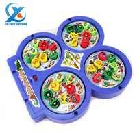 Wholesale Electric Magnetic Fishing Disk Rotate Fishing Plate Interactive Game Toy Children Educational Toys for Kids Fast Shipping