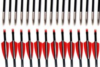 archery arrow points - 12PCS Fiberglass Arrow quot Archery Hunter Nocks Fletched Arrows With Steel Point For Recurve Bow Target Arrow