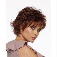 Wholesale Ladies Puffy Natural Short Curly Hair Wig Auburn wigs