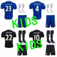 Wholesale best quality cHazard HOME AWAY Courtois Kante Diego Costa David kids football shirts