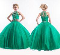 Wholesale 2017 Green Jewel Neckline Girl s Pageant Dresses Princess Delicate Beaded Girl s Formal Dresses Floor Length Tulle Kids prom dresses