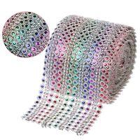 "Wholesale Crystal Mesh Fabric Rhinestone - 10Yards(30ft) x 4.5"" Rainbow Color Dimond Mesh Crystal Sewing Rhinestone Ribbon Trim for Wedding Party Decorations DIY Gift Wrap"