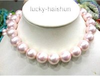 Wholesale quot mm pink round south sea shell pearls necklace