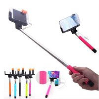 Wholesale KJSTAR Z07 Audio Cable Wired Selfie Stick Extendable Monopod Self Stick for iPhone plus s s IOS Samsung Android