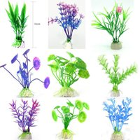 Wholesale 10Pcs Hot sale Artificial Green Colorful Underwater Plant Fish Tank Aquarium Decoration Oranment Decorative Plant