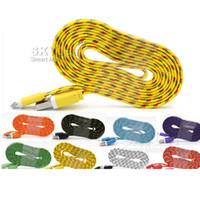 al por mayor cuerdas de galaxias-Cable micro del USB Cable trenzado del USB de los tallarines trenzados para el cable de la galaxia S7 Nota 5 cable colorido del USB de 1M / 3FT 2M / 6FT 3M / 10FT sin el paquete