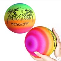 beach volleyball - 5pcs Inflatable Balls CM PVC Beach Ball birthday party decoration Rainbow Volleyball Outdoor Sports Toy Beach Ball baby gifts