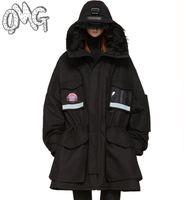 Wholesale Winter Rihanna Vetements oversize loose Black Transparent pockets Down Coat Women Men winter parka YQ