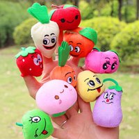 Wholesale 10 styles Cute Fruit Vegetable Finger Puppets toys short floss Baby Hand Puppet toy Kids baby early education Finger Toy Storytelling props
