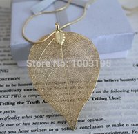 accessorize design - hot accessorize hot design k real gold Silver plating natural real leaf long necklace Pendant for women