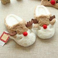 Grossiste-Nouveau Noël de bande dessinée mignonne élan coton maison pantoufles femmes automne et hiver chaussures antidérapantes souples