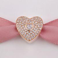 Día de San Valentín 925 Corazones de plata de ley con corazón claro CZ encanto se adapta a Pandora estilo europeo Joyería Pulseras 781555CZ Rose Oro chapado