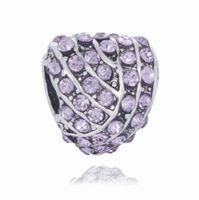 al por mayor corazón de plata diamantes de la cadena-Brazaletes aptos de la cadena de la serpiente 1pc Granos grandes multicolores de plata de los encantos del agujero del corazón del diamante para los accesorios europeos al por mayor de la joyería del collar de Diy