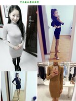 asymmetrical button sweater - Cheap new winter half slim long thread knitted turtleneck sweater dress primer LYQ235