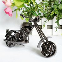 antique harley - 14 CM Color Electroplating Vintage Hand Made Metal Art Craft Bar Home Decoration Harley Motorcycles Model Toy Wheel Can Move
