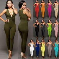 Wholesale Deep V Zip Front Rompers Womens Jumpsuit Sexy Slimming Stretchy Bodycon Playsuit Bandage Bodysuit Women Party Overalls Club Wear