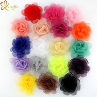artificial enamel - 64pcs quot colors Tulle Messy Rose Flower For Baby And Kids Artificial Tulle Flowers Headband