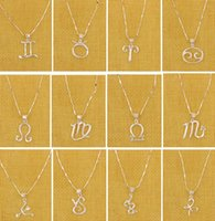 twelve south - NEW Zodiac Sterling Silver Pendant Necklaces Women Girl Twelve Constellations Silver Plated Pendant Necklaces Couples Necklaces