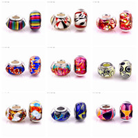 Wholesale 50PCS Round Fashion Design Resin Charms Silver core European Big Hole Beads for Jewelry Making Low Price RSB32