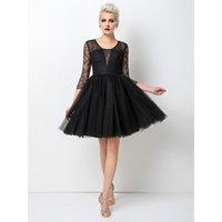 2017 Meilleure vente Robe de bal courte noir sexy A-ligne Bijou 3/4 manches longues dentelle Real Pictures Mini robes de soirée simple