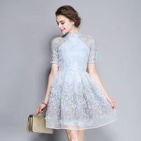 Wholesale Party Dress Sweet Temperament Organza Lace Stitching Favors Improved Qipao Dress Cultivate One s Morality Dress