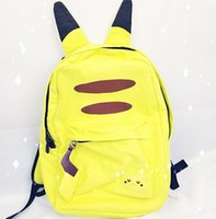 Wholesale pikachu backpacks poke School Backpack Book Bag with Ear canvas backpack with ears fashion anime poke school bag Xmas Gift KKA1020