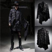 animal ribs - 2016 Fashion Cool Harajuku Peacoat Faux Fur Casual Men Punk Jacket Windbreaker Coat Irregular Mens Designer Jackets And Coats